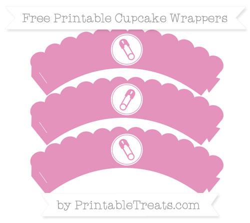 Free Pastel Bubblegum Pink Diaper Pin Scalloped Cupcake Wrappers