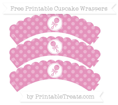 Free Pastel Bubblegum Pink Dotted Pattern Baby Rattle Scalloped Cupcake Wrappers