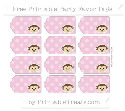 Free Pastel Bubblegum Pink Dotted Pattern Boy Monkey Party Favor Tags
