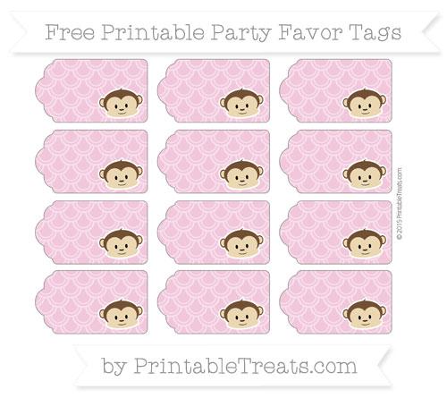 Free Pastel Bubblegum Pink Fish Scale Pattern Boy Monkey Party Favor Tags