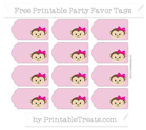 Free Pastel Bubblegum Pink Girl Monkey Party Favor Tags