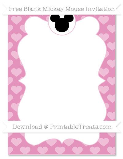 Free Pastel Bubblegum Pink Heart Pattern Blank Mickey Mouse Invitation
