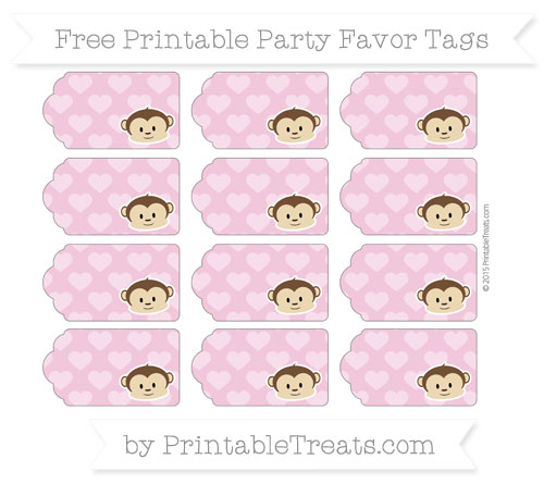 Free Pastel Bubblegum Pink Heart Pattern Boy Monkey Party Favor Tags