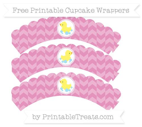 Free Pastel Bubblegum Pink Herringbone Pattern Baby Duck Scalloped Cupcake Wrappers