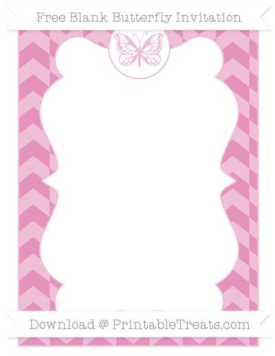Free Pastel Bubblegum Pink Herringbone Pattern Blank Butterfly Invitation