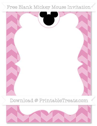 Free Pastel Bubblegum Pink Herringbone Pattern Blank Mickey Mouse Invitation