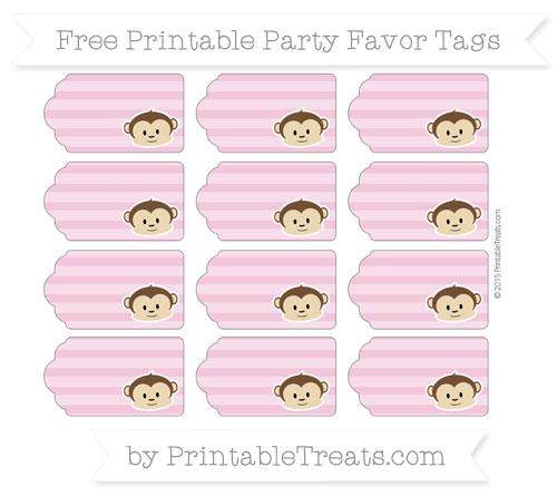 Free Pastel Bubblegum Pink Horizontal Striped Boy Monkey Party Favor Tags