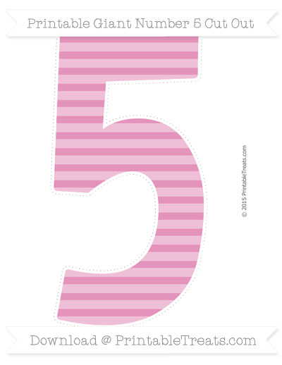 Free Pastel Bubblegum Pink Horizontal Striped Giant Number 5 Cut Out