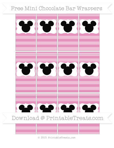 Free Pastel Bubblegum Pink Horizontal Striped Mickey Mouse Mini Chocolate Bar Wrappers