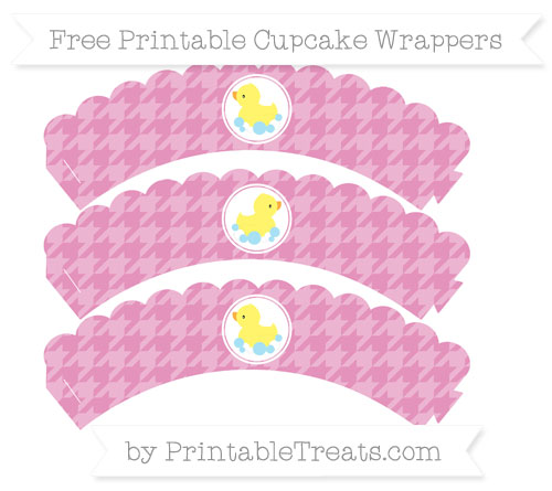 Free Pastel Bubblegum Pink Houndstooth Pattern Baby Duck Scalloped Cupcake Wrappers