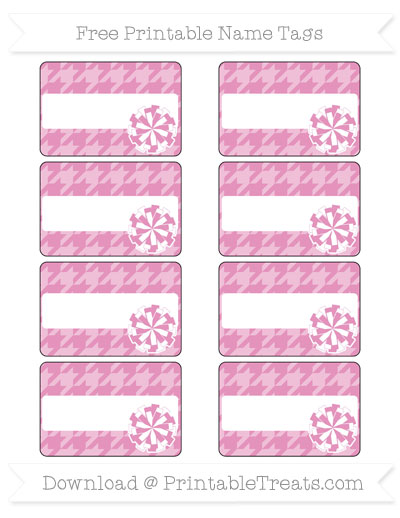 Free Pastel Bubblegum Pink Houndstooth Pattern Cheer Pom Pom Tags