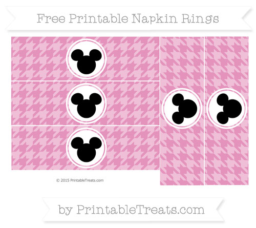 Free Pastel Bubblegum Pink Herringbone Pattern Mickey Mouse Napkin Rings
