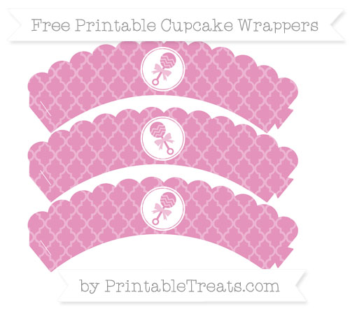 Free Pastel Bubblegum Pink Moroccan Tile Baby Rattle Scalloped Cupcake Wrappers