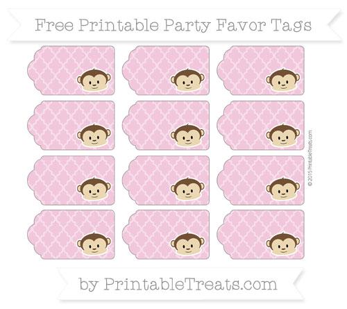 Free Pastel Bubblegum Pink Moroccan Tile Boy Monkey Party Favor Tags