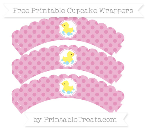 Free Pastel Bubblegum Pink Polka Dot Baby Duck Scalloped Cupcake Wrappers