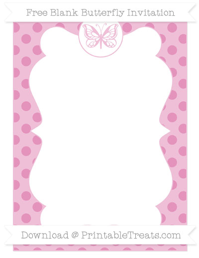 Free Pastel Bubblegum Pink Polka Dot Blank Butterfly Invitation