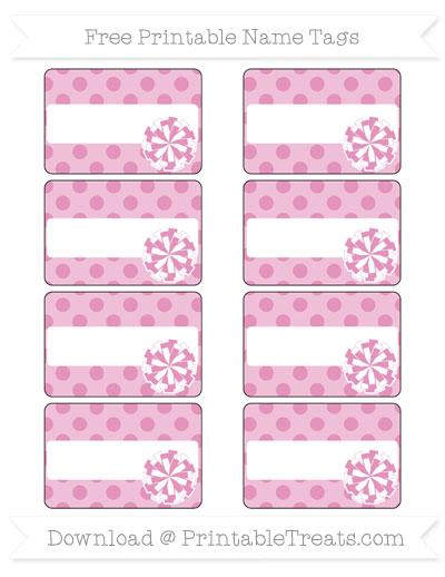 Free Pastel Bubblegum Pink Polka Dot Cheer Pom Pom Tags