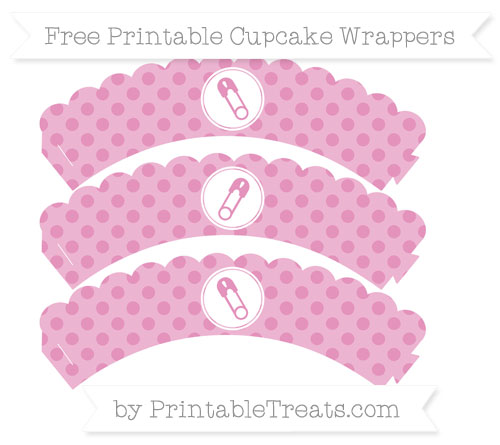 Free Pastel Bubblegum Pink Polka Dot Diaper Pin Scalloped Cupcake Wrappers