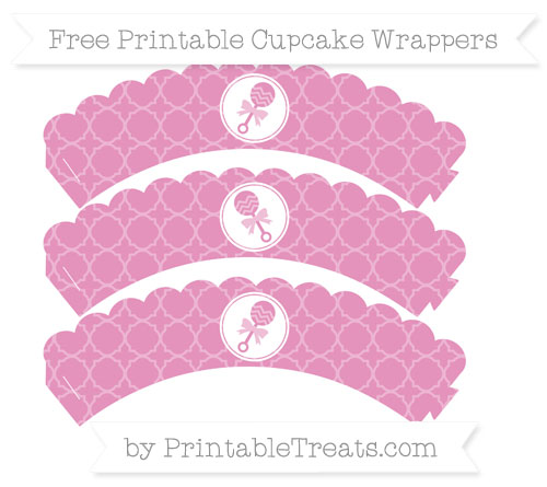 Free Pastel Bubblegum Pink Quatrefoil Pattern Baby Rattle Scalloped Cupcake Wrappers