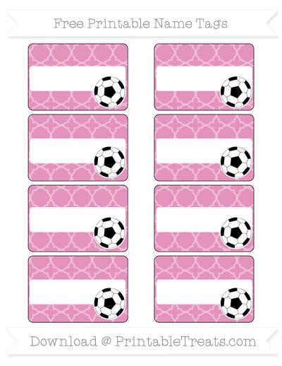 Free Pastel Bubblegum Pink Quatrefoil Pattern Soccer Name Tags