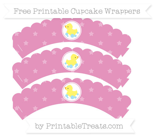 Free Pastel Bubblegum Pink Star Pattern Baby Duck Scalloped Cupcake Wrappers
