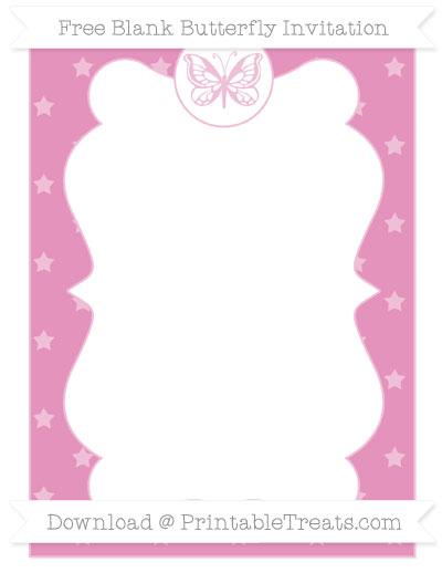 Free Pastel Bubblegum Pink Star Pattern Blank Butterfly Invitation