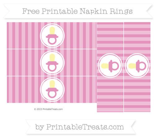 Free Pastel Bubblegum Pink Striped Baby Pacifier Napkin Rings