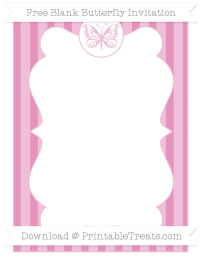 Free Pastel Bubblegum Pink Striped Blank Butterfly Invitation