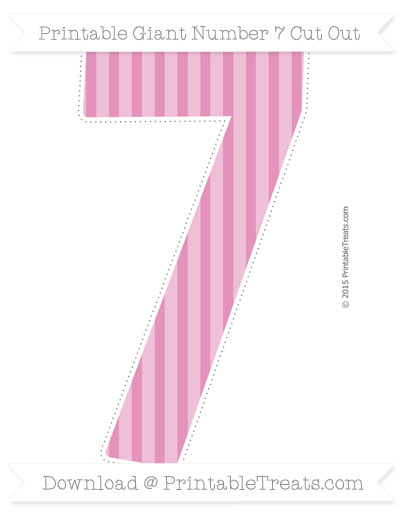 Free Pastel Bubblegum Pink Striped Giant Number 7 Cut Out