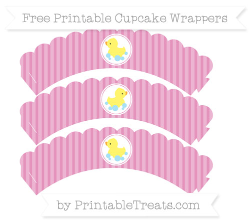 Free Pastel Bubblegum Pink Thin Striped Pattern Baby Duck Scalloped Cupcake Wrappers