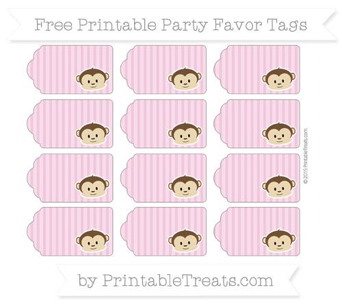 Free Pastel Bubblegum Pink Thin Striped Pattern Boy Monkey Party Favor Tags