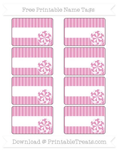 Free Pastel Bubblegum Pink Thin Striped Pattern Cheer Pom Pom Tags
