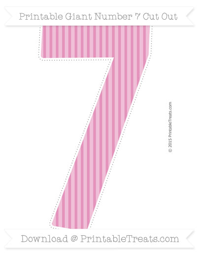 Free Pastel Bubblegum Pink Thin Striped Pattern Giant Number 7 Cut Out