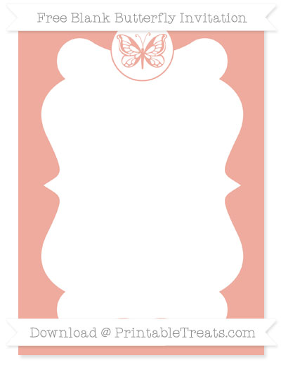 Free Pastel Coral Blank Butterfly Invitation