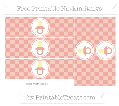Free Pastel Coral Checker Pattern Baby Pacifier Napkin Rings
