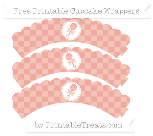 Free Pastel Coral Checker Pattern Baby Rattle Scalloped Cupcake Wrappers