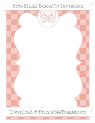 Free Pastel Coral Checker Pattern Blank Butterfly Invitation