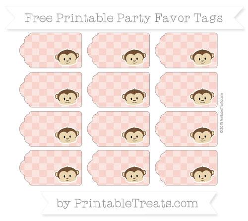 Free Pastel Coral Checker Pattern Boy Monkey Party Favor Tags