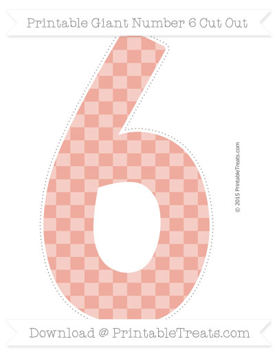 Free Pastel Coral Checker Pattern Giant Number 6 Cut Out