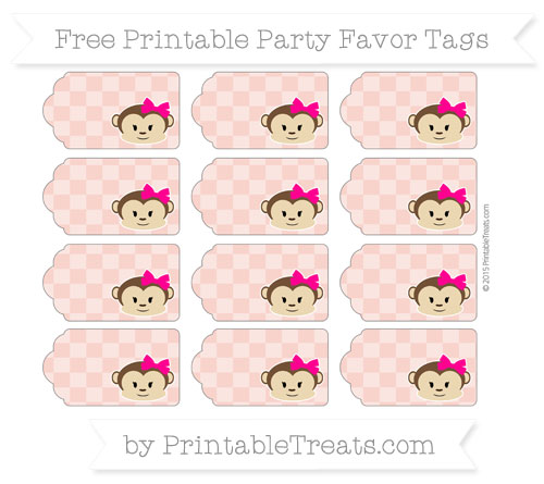 Free Pastel Coral Checker Pattern Girl Monkey Party Favor Tags