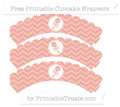 Free Pastel Coral Chevron Baby Rattle Scalloped Cupcake Wrappers