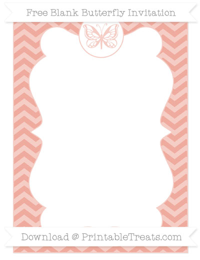 Free Pastel Coral Chevron Blank Butterfly Invitation