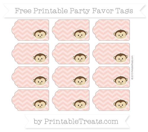 Free Pastel Coral Chevron Boy Monkey Party Favor Tags