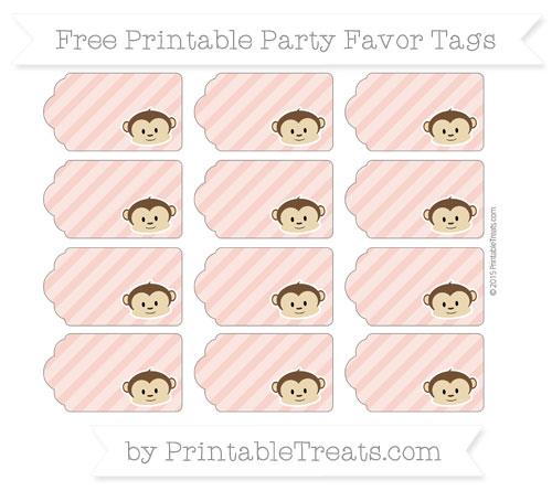 Free Pastel Coral Diagonal Striped Boy Monkey Party Favor Tags