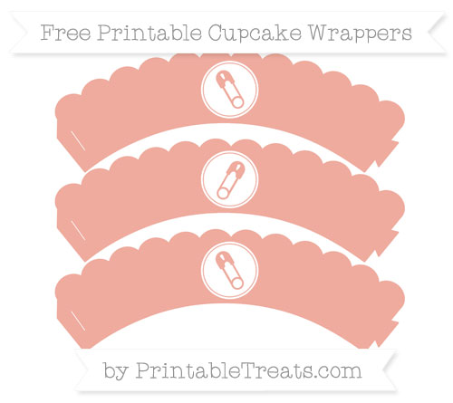 Free Pastel Coral Diaper Pin Scalloped Cupcake Wrappers