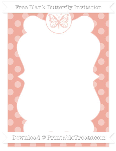 Free Pastel Coral Dotted Pattern Blank Butterfly Invitation