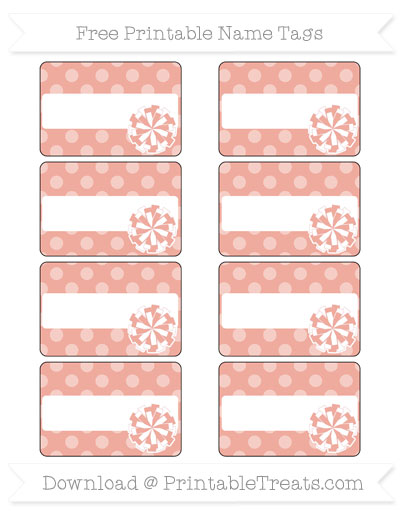 Free Pastel Coral Dotted Pattern Cheer Pom Pom Tags