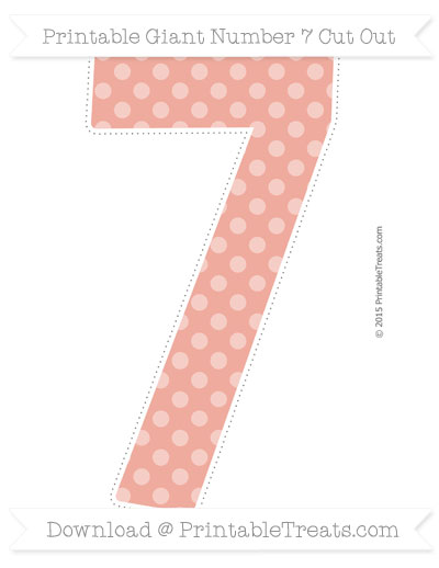 Free Pastel Coral Dotted Pattern Giant Number 7 Cut Out