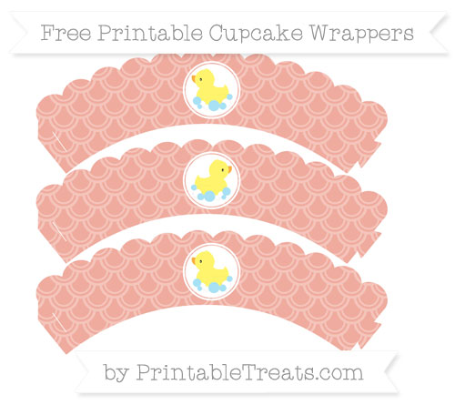 Free Pastel Coral Fish Scale Pattern Baby Duck Scalloped Cupcake Wrappers