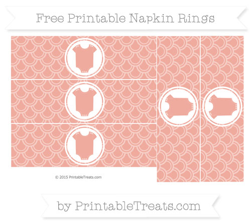 Free Pastel Coral Fish Scale Pattern Baby Onesie Napkin Rings